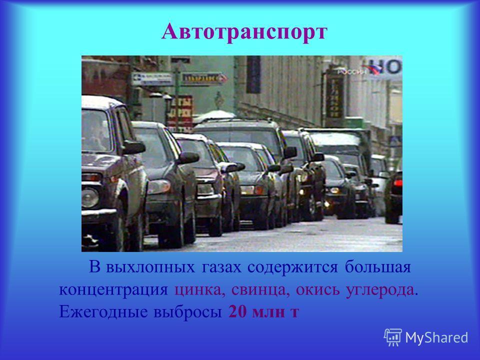 Автотранспорт В выхлопных газах содержится большая концентрация цинка, свинца, окись углерода. Ежегодные выбросы 20 млн т