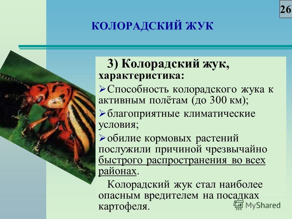 КОЛОРАДСКИЙ ЖУК 3) Колорадский жук, характеристика: Способность колорадского жука к активным полётам (до 300 км); благоприятные климатические условия; обилие кормовых растений послужили причиной чрезвычайно быстрого распространения во всех районах. К