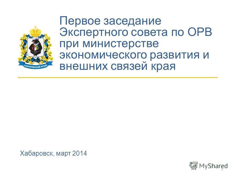 Первое заседание Экспертного совета по ОРВ при министерстве экономического развития и внешних связей края Хабаровск, март 2014 1