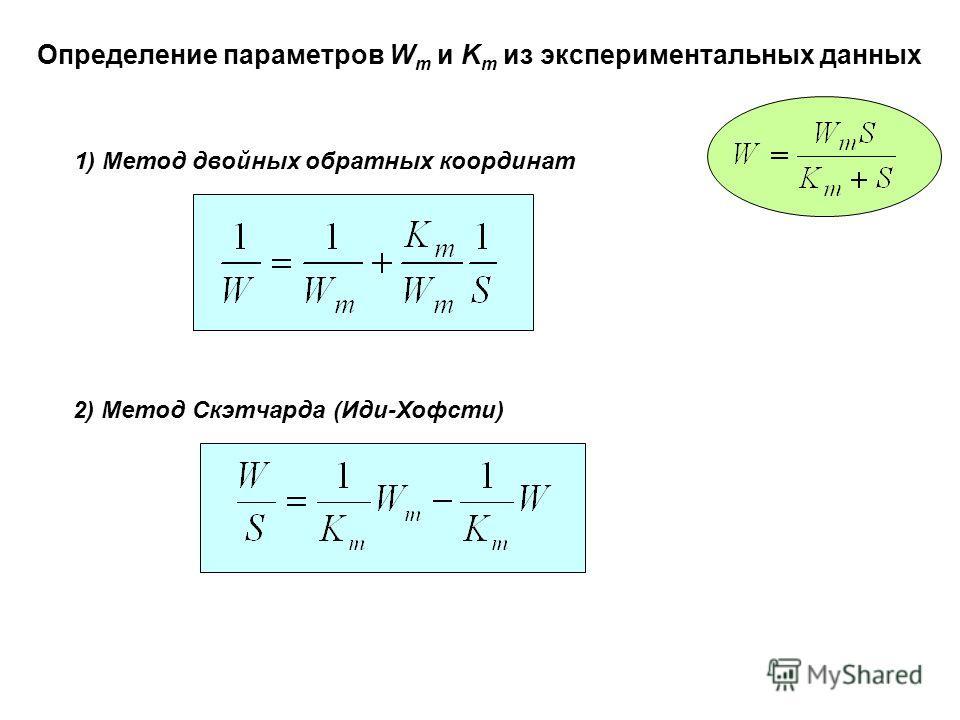 Определение параметров W m и K m из экспериментальных данных 1) Метод двойных обратных координат 2) Метод Скэтчарда (Иди-Хофсти)