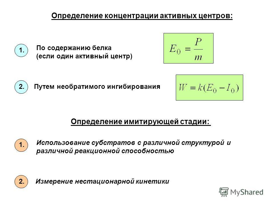 Определение концентрации активных центров: По содержанию белка (если один активный центр) Путем необратимого ингибирования 1. 2. Определение имитирующей стадии: Измерение нестационарной кинетики Использование субстратов с различной структурой и разли