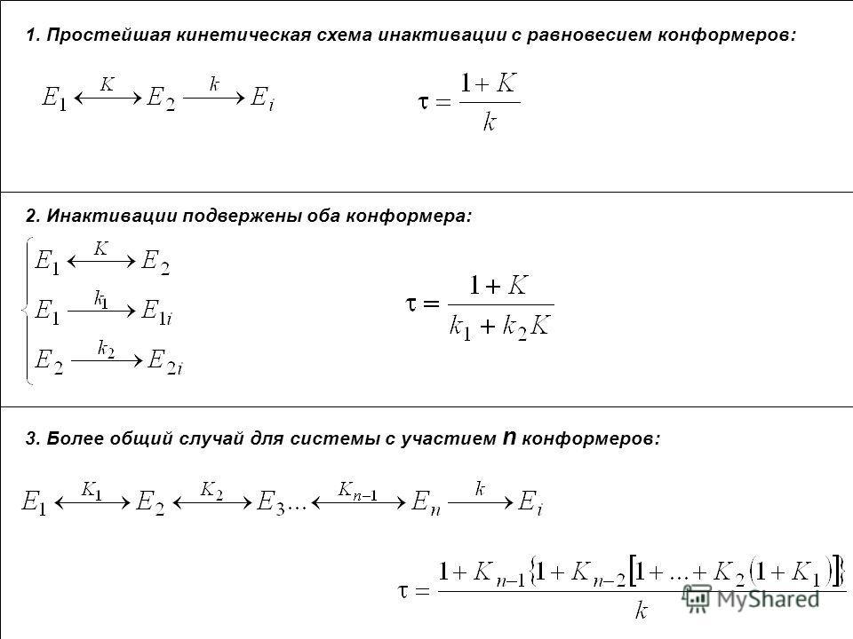 1. Простейшая кинетическая схема инактивации с равновесием конформеров: 2. Инактивации подвержены оба конформера: 3. Более общий случай для системы с участием n конформеров: