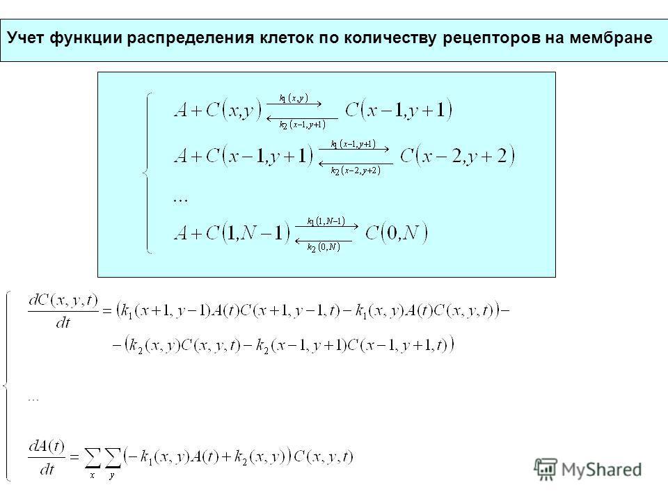 Учет функции распределения клеток по количеству рецепторов на мембране