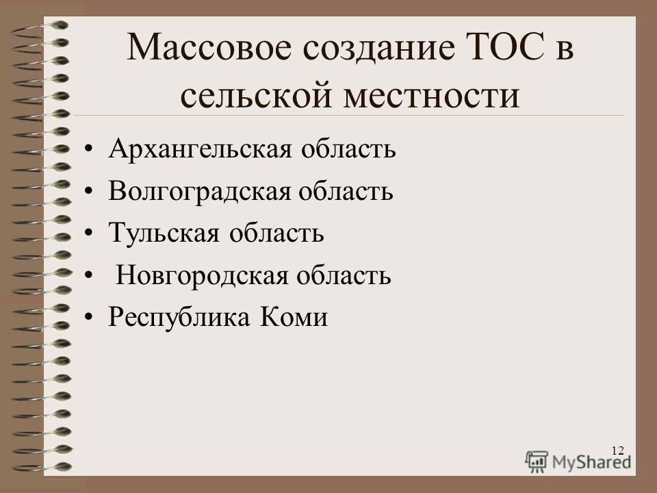 Массовое создание ТОС в сельской местности Архангельская область Волгоградская область Тульская область Новгородская область Республика Коми 12