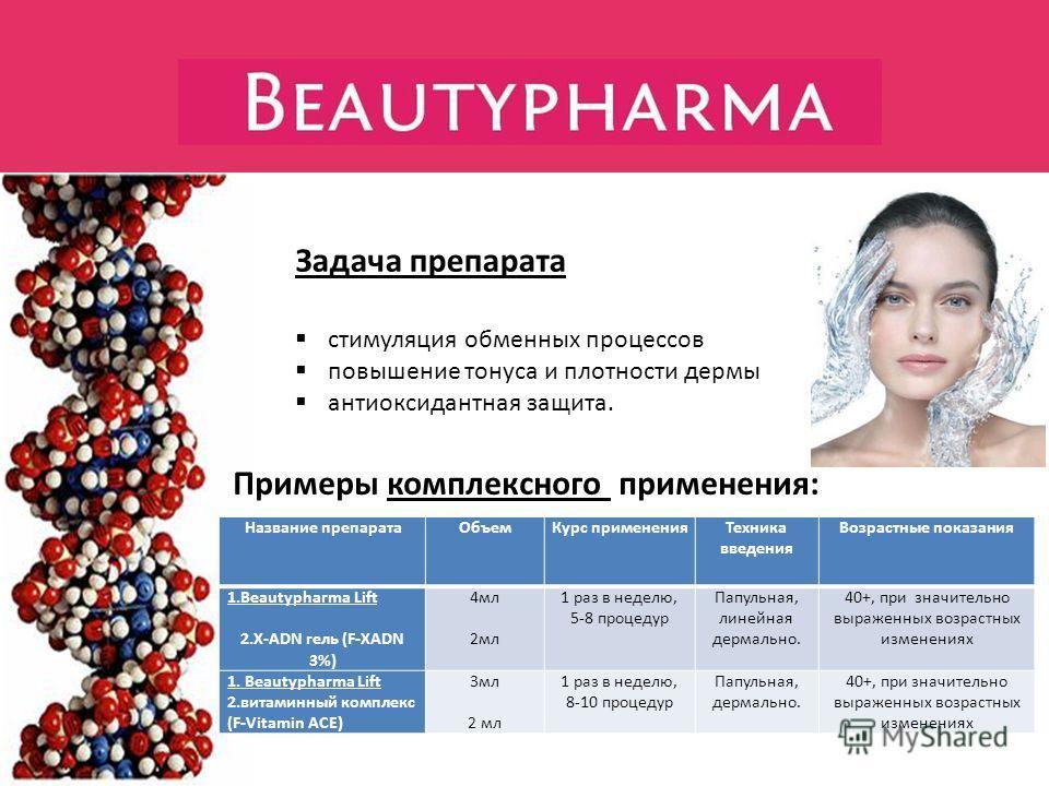 Задача препарата стимуляция обменных процессов повышение тонуса и плотности дермы антиоксидантная защита. Название препаратаОбъемКурс примененияТехника введения Возрастные показания 1.Beautypharma Lift 2.Х-ADN гель (F-XADN 3%) 4мл 2мл 1 раз в неделю,