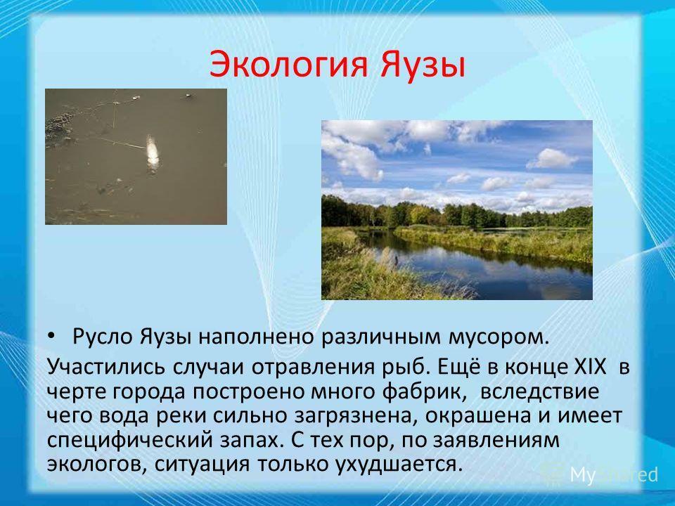 Экология Яузы Русло Яузы наполнено различным мусором. Участились случаи отравления рыб. Ещё в конце XIX в черте города построено много фабрик, вследствие чего вода реки сильно загрязнена, окрашена и имеет специфический запах. С тех пор, по заявлениям