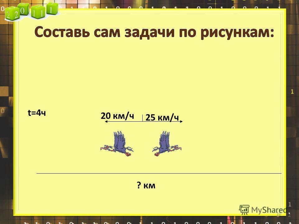 25 км/ч 20 км/ч ? км t=4ч 10