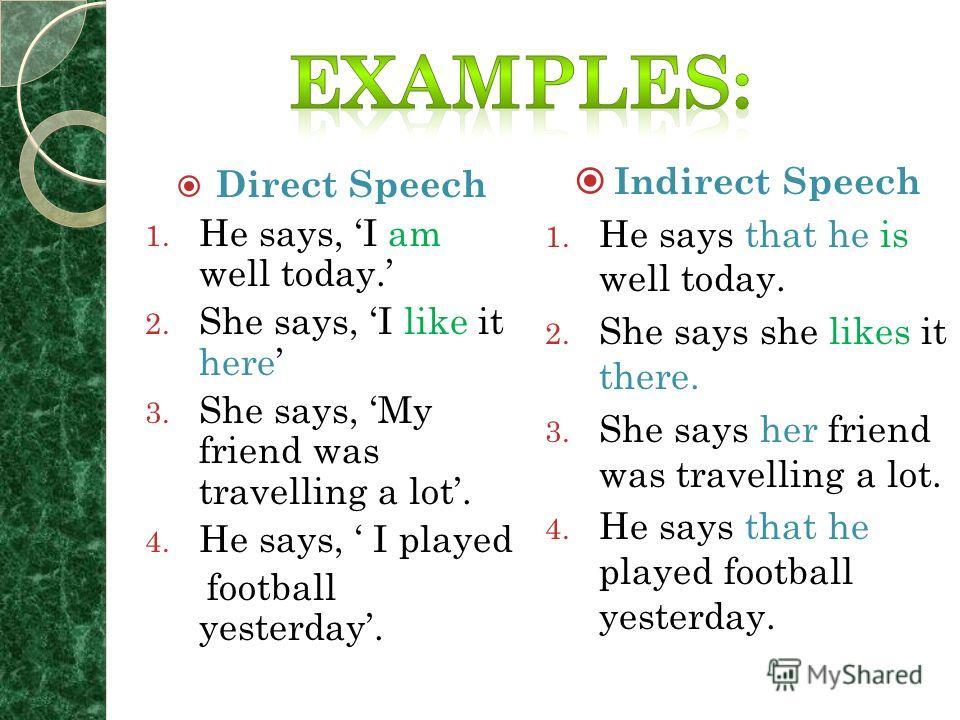 Косвенная речь служит для передачи чужой речи Личные и указательные местоимения заменяются в косвенной речи по смыслу, как и в русском языке. Если глагол, вводящий косвенную речь, стоит в настоящем времени, то форма глагола в косвенной речи не изменя