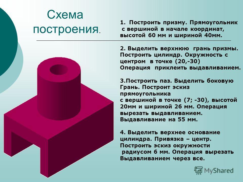 1.Построить призму. Прямоугольник с вершиной в начале координат, высотой 60 мм и шириной 40мм. 2. Выделить верхнюю грань призмы. Построить цилиндр. Окружность с центром в точке (20,-30) Операция приклеить выдавливанием. 3.Построить паз. Выделить боко