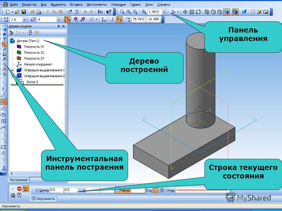 Строка текущего состояния Панель управления Инструментальная панель постраения Дерево построений