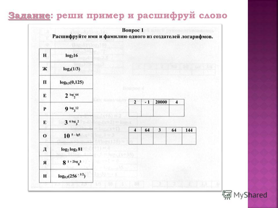 Задание Задание: реши пример и расшифруй слово