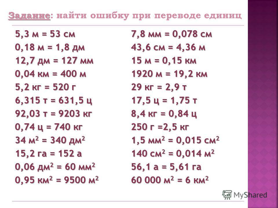 5,3 м = 53 см 0,18 м = 1,8 дм 12,7 дм = 127 мм 0,04 км = 400 м 5,2 кг = 520 г 6,315 т = 631,5 ц 92,03 т = 9203 кг 0,74 ц = 740 кг 34 м 2 = 340 дм 2 15,2 га = 152 а 0,06 дм 2 = 60 мм 2 0,95 км 2 = 9500 м 2 7,8 мм = 0,078 см 43,6 см = 4,36 м 15 м = 0,1