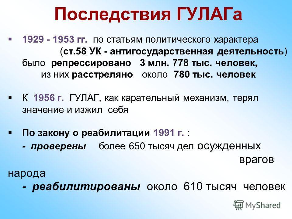 Последствия ГУЛАГа 1929 - 1953 гг. по статьям политического характера (ст.58 УК - антигосударственная деятельность) было репрессировано 3 млн. 778 тыс. человек, из них расстреляно около 780 тыс. человек К 1956 г. ГУЛАГ, как карательный механизм, теря