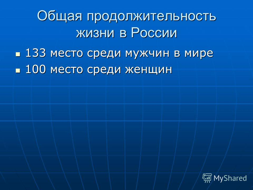 Общая продолжительность жизни в России 133 место среди мужчин в мире 133 место среди мужчин в мире 100 место среди женщин 100 место среди женщин