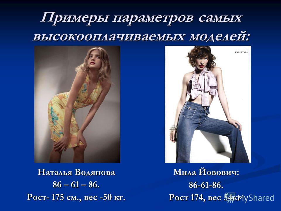 Примеры параметров самых высокооплачиваемых моделей: Наталья Водянова 86 – 61 – 86. Рост- 175 см., вес -50 кг. Мила Йовович: 86-61-86. Рост 174, вес 54кг