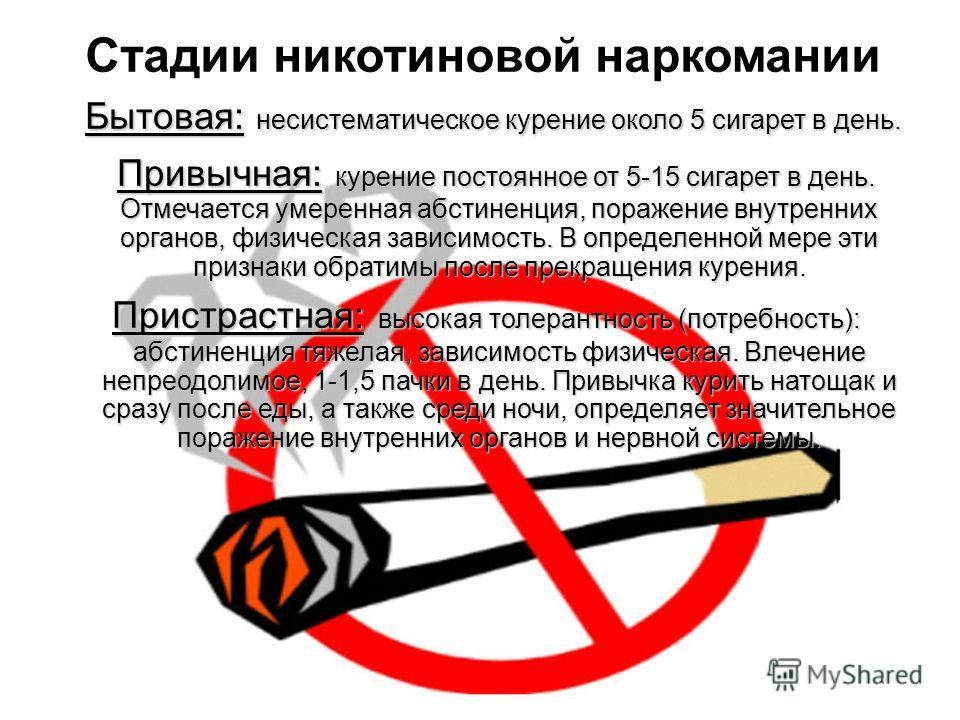 Бытовая: несистематическое курение около 5 сигарет в день. Бытовая: несистематическое курение около 5 сигарет в день. Привычная: курение постоянное от 5-15 сигарет в день. Отмечается умеренная абстиненция, поражение внутренних органов, физическая зав