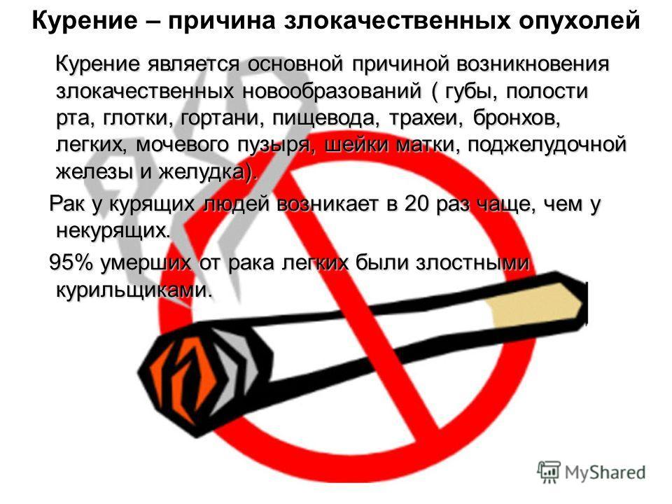 Курение является основной причиной возникновения злокачественных новообразований ( губы, полости рта, глотки, гортани, пищевода, трахеи, бронхов, легких, мочевого пузыря, шейки матки, поджелудочной железы и желудка). Курение является основной причино