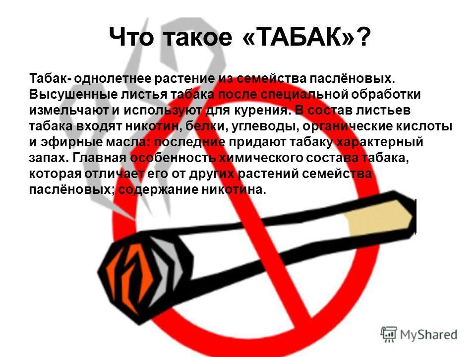 Табак- однолетнее растение из семейства паслёновых. Высушенные листья табака после специальной обработки измельчают и используют для курения. В состав листьев табака входят никотин, белки, углеводы, органические кислоты и эфирные масла: последние при