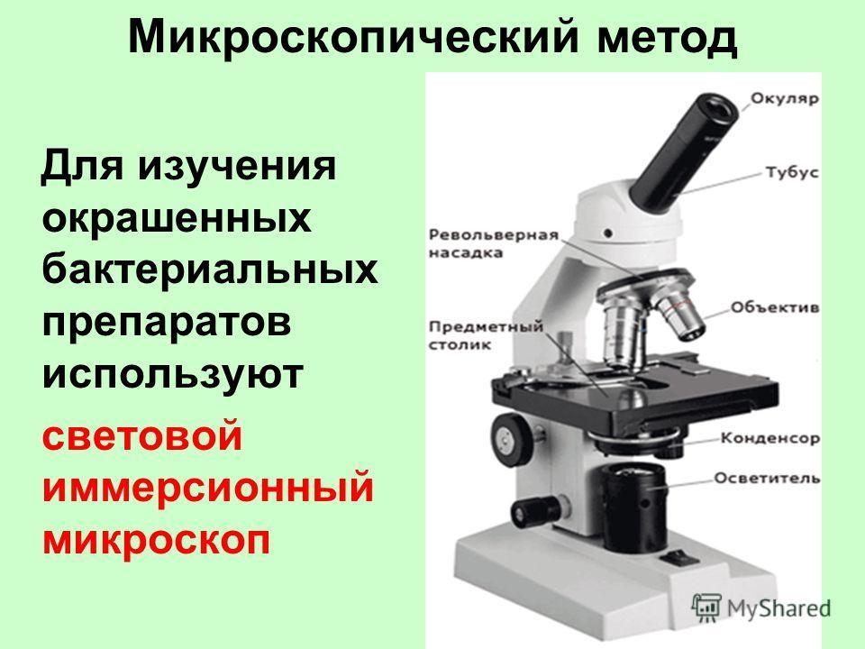 Микроскопический метод Для изучения окрашенных бактериальных препаратов используют световой иммерсионный микроскоп