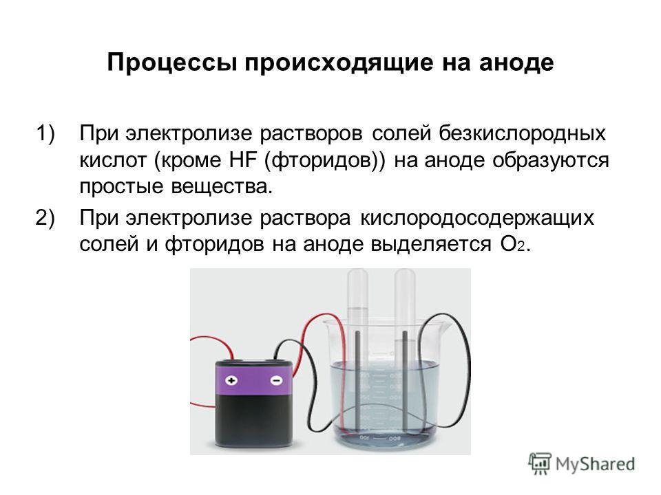 Процессы происходящие на аноде 1)При электролизе растворов солей безкислородных кислот (кроме HF (фторидов)) на аноде образуются простые вещества. 2)При электролизе раствора кислородосодержащих солей и фторидов на аноде выделяется О 2.