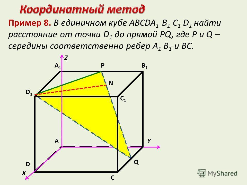 Пример 8. В единичном кубе ABCDA 1 B 1 C 1 D 1 найти расстояние от точки D 1 до прямой РQ, где Р и Q – середины соответственно ребер A 1 B 1 и ВС. X С YA D1D1 A1A1 B1B1 N P D C1C1 Q Z