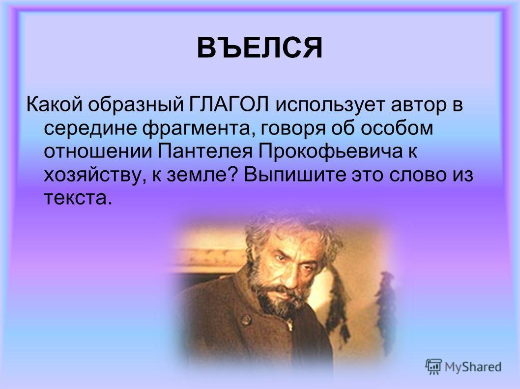 ВЪЕЛСЯ Какой образный ГЛАГОЛ использует автор в середине фрагмента, говоря об особом отношении Пантелея Прокофьевича к хозяйству, к земле? Выпишите это слово из текста.