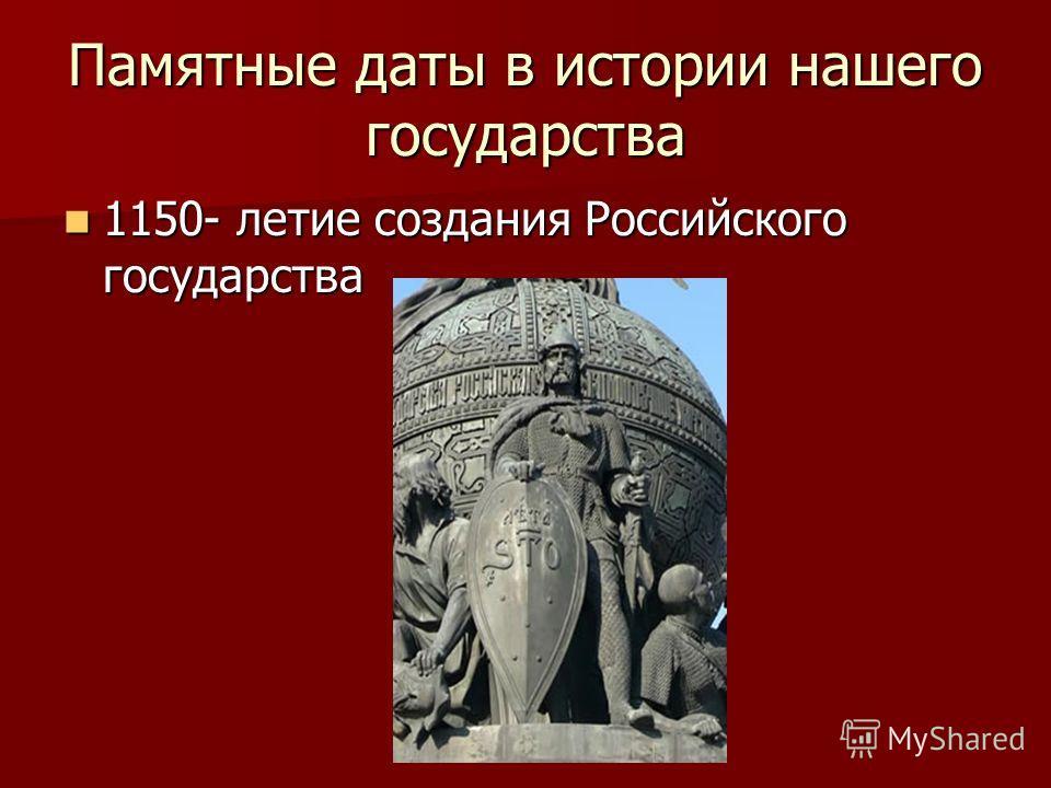 Памятные даты в истории нашего государства 1150- летие создания Российского государства 1150- летие создания Российского государства