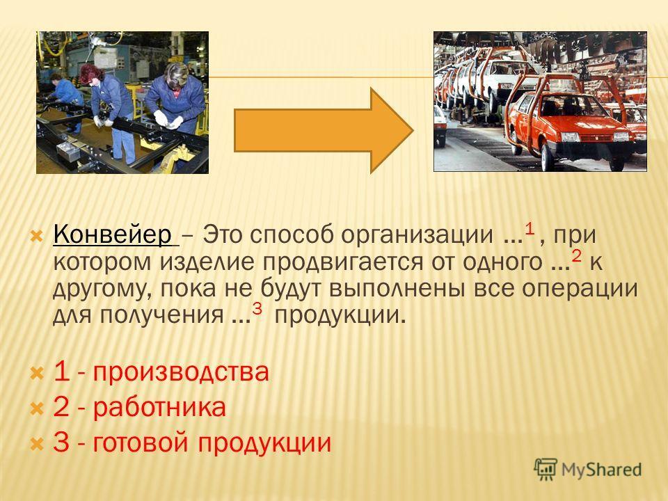 Конвейер – Это способ организации … 1, при котором изделие продвигается от одного … 2 к другому, пока не будут выполнены все операции для получения … 3 продукции. 1 - производства 2 - работника 3 - готовой продукции