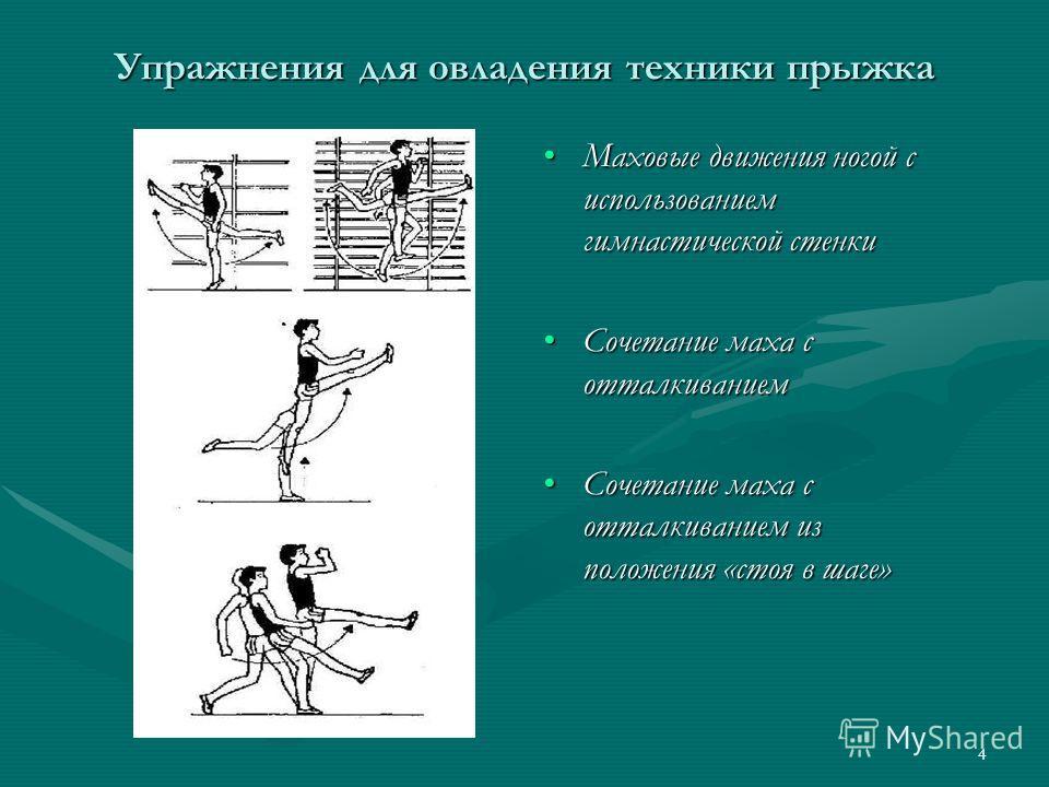 4 Упражнения для овладения техники прыжка Маховые движения ногой с использованием гимнастической стенки Сочетание маха с отталкиванием Сочетание маха с отталкиванием из положения «стоя в шаге»