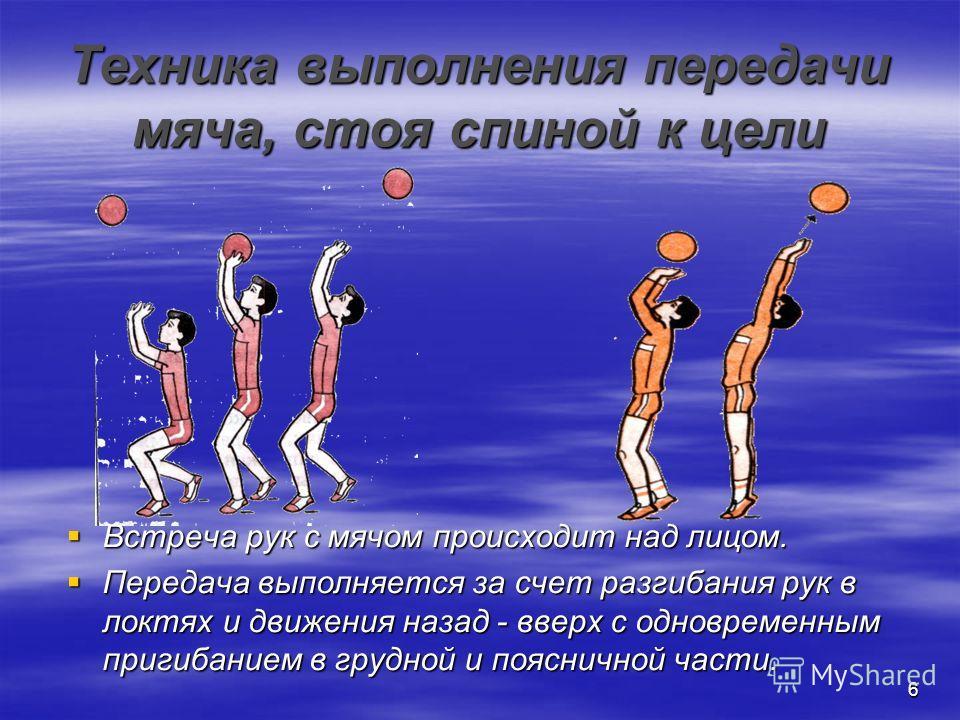 6 Техника выполнения передачи мяча, стоя спиной к цели Встреча рук с мячом происходит над лицом. Встреча рук с мячом происходит над лицом. Передача выполняется за счет разгибания рук в локтях и движения назад - вверх с одновременным пригибанием в гру
