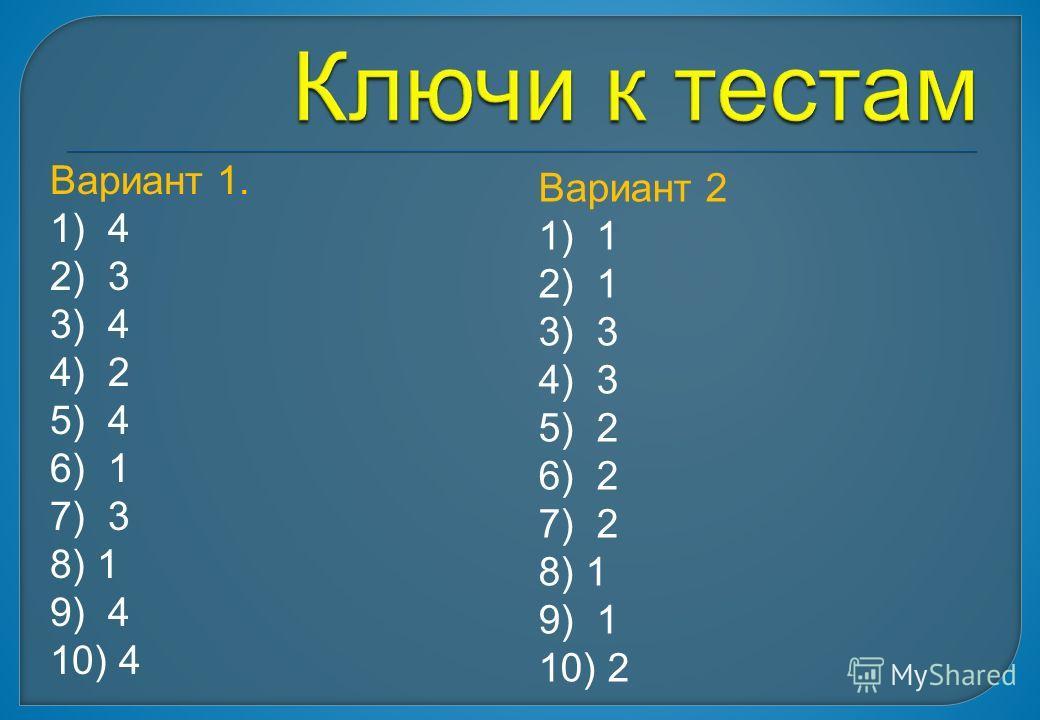Вариант 1. 1) 4 2) 3 3) 4 4) 2 5) 4 6) 1 7) 3 8) 1 9) 4 10) 4 Вариант 2 1) 1 2) 1 3) 3 4) 3 5) 2 6) 2 7) 2 8) 1 9) 1 10) 2