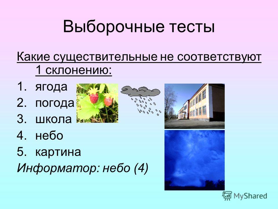 Выборочные тесты Какие существительные не соответствуют 1 склонению: 1.ягода 2.погода 3.школа 4.небо 5.картина Информатор: небо (4)