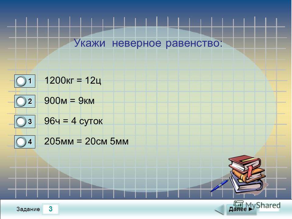 3 Задание 1200кг = 12ц 900м = 9км 96ч = 4 суток 205мм = 20см 5мм Далее 1 0 2 1 3 0 4 0 Укажи неверное равенство: