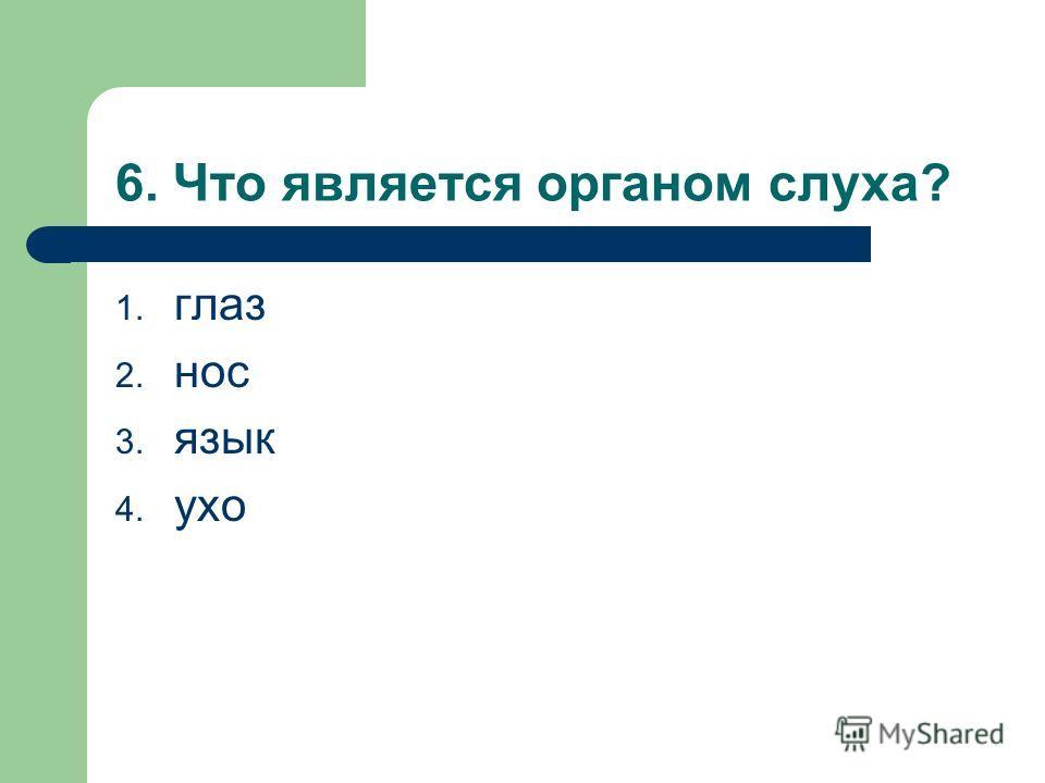 6. Что является органом слуха? 1. глаз 2. нос 3. язык 4. ухо
