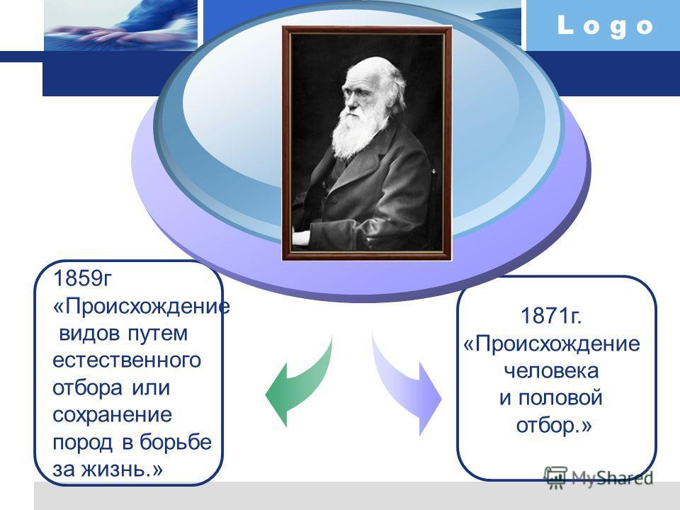 L o g o 1859г «Происхождение видов путем естественного отбора или сохранение пород в борьбе за жизнь.» 1871г. «Происхождение человека и половой отбор.»