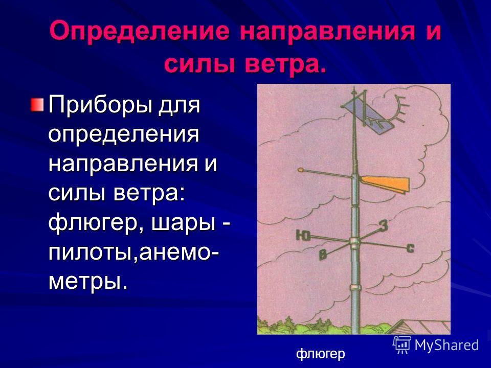 Определение направления и силы ветра. Приборы для определения направления и силы ветра: флюгер, шары - пилоты,анемо- метры. флюгер