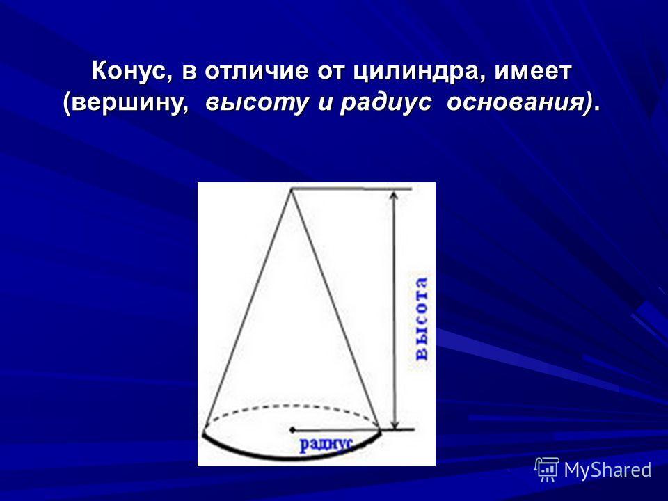 Конус, в отличие от цилиндра, имеет (вершину, высоту и радиус основания).