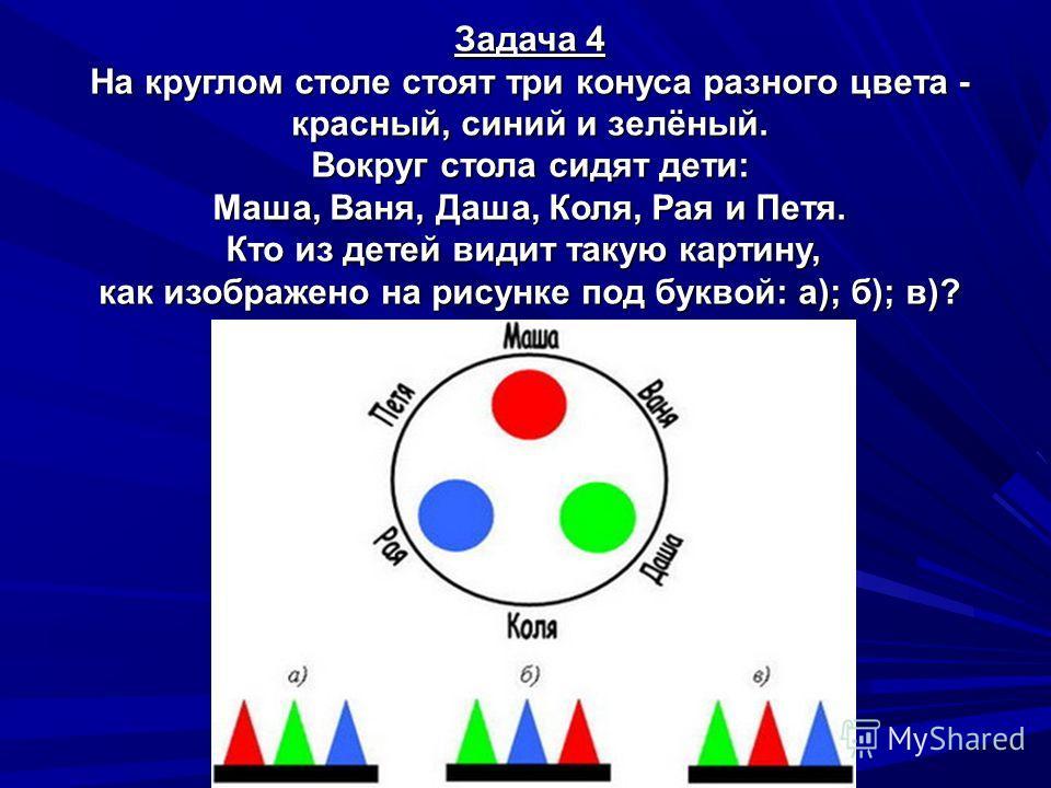 Задача 4 На круглом столе стоят три конуса разного цвета - красный, синий и зелёный. Вокруг стола сидят дети: Маша, Ваня, Даша, Коля, Рая и Петя. Кто из детей видит такую картину, как изображено на рисунке под буквой: а); б); в)?