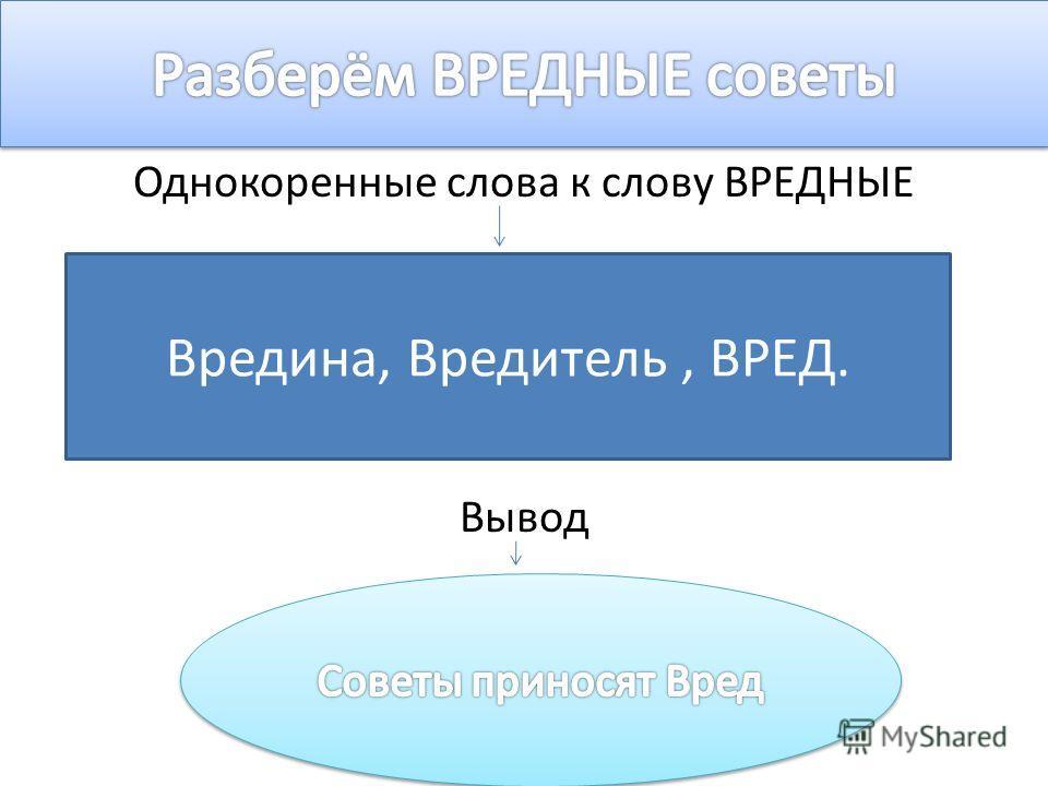 Однокоренные слова к слову ВРЕДНЫЕ Вывод Вредина, Вредитель, ВРЕД.
