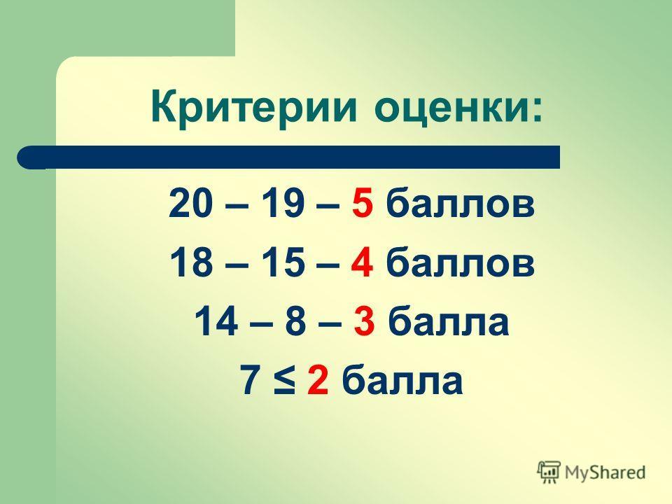 Критерии оценки: 20 – 19 – 5 баллов 18 – 15 – 4 баллов 14 – 8 – 3 балла 7 2 балла