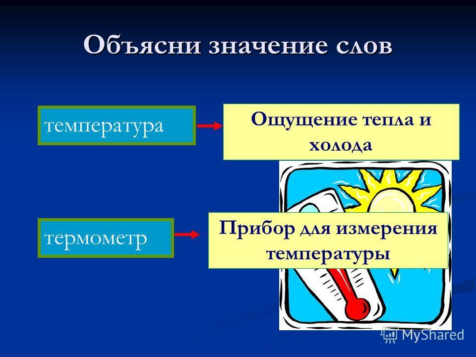 Объясни значение слов термометр температура Ощущение тепла и холода Прибор для измерения температуры