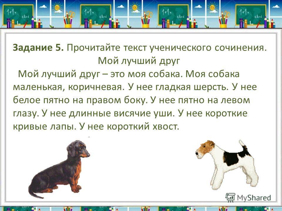Задание 5. Прочитайте текст ученического сочинения. Мой лучший друг Мой лучший друг – это моя собака. Моя собака маленькая, коричневая. У нее гладкая шерсть. У нее белое пятно на правом боку. У нее пятно на левом глазу. У нее длинные висячие уши. У н