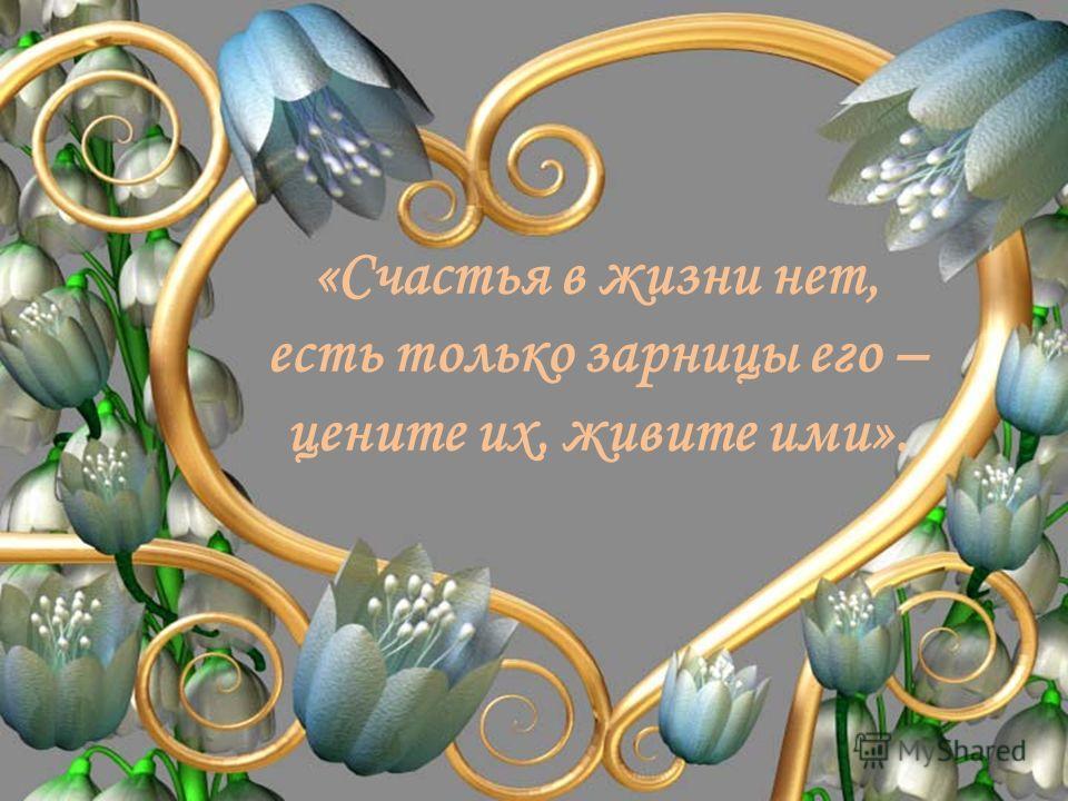 «Счастья в жизни нет, есть только зарницы его – цените их, живите ими».