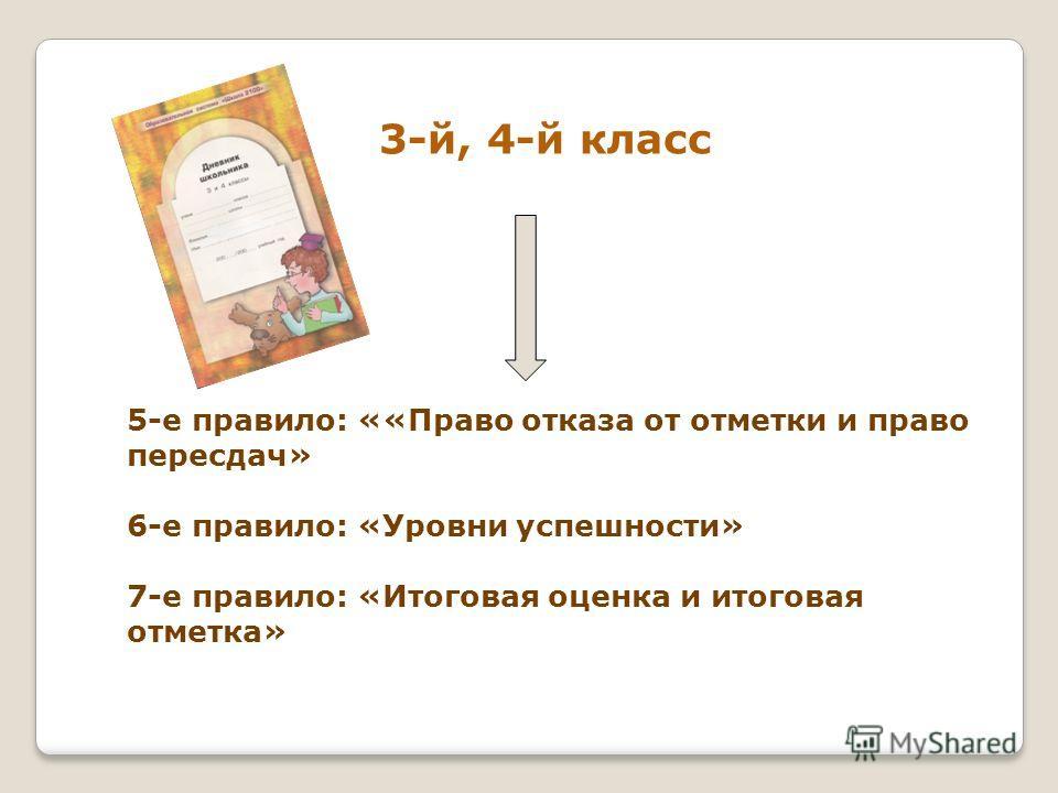 3-й, 4-й класс 5-е правило: ««Право отказа от отметки и право пересдач» 6-е правило: «Уровни успешности» 7-е правило: «Итоговая оценка и итоговая отметка»