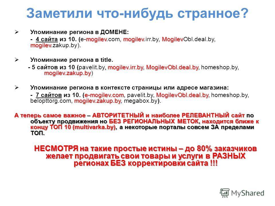 Заметили что-нибудь странное? Упоминание региона в ДОМЕНЕ: mogilevmogilevMogilev mogilev - 4 сайта из 10. (e-mogilev.com, mogilev.irr.by, MogilevObl.deal.by, mogilev.zakup.by). Упоминание региона в title., mogilev.irr.byMogilevObl.deal.by mogilev.zak