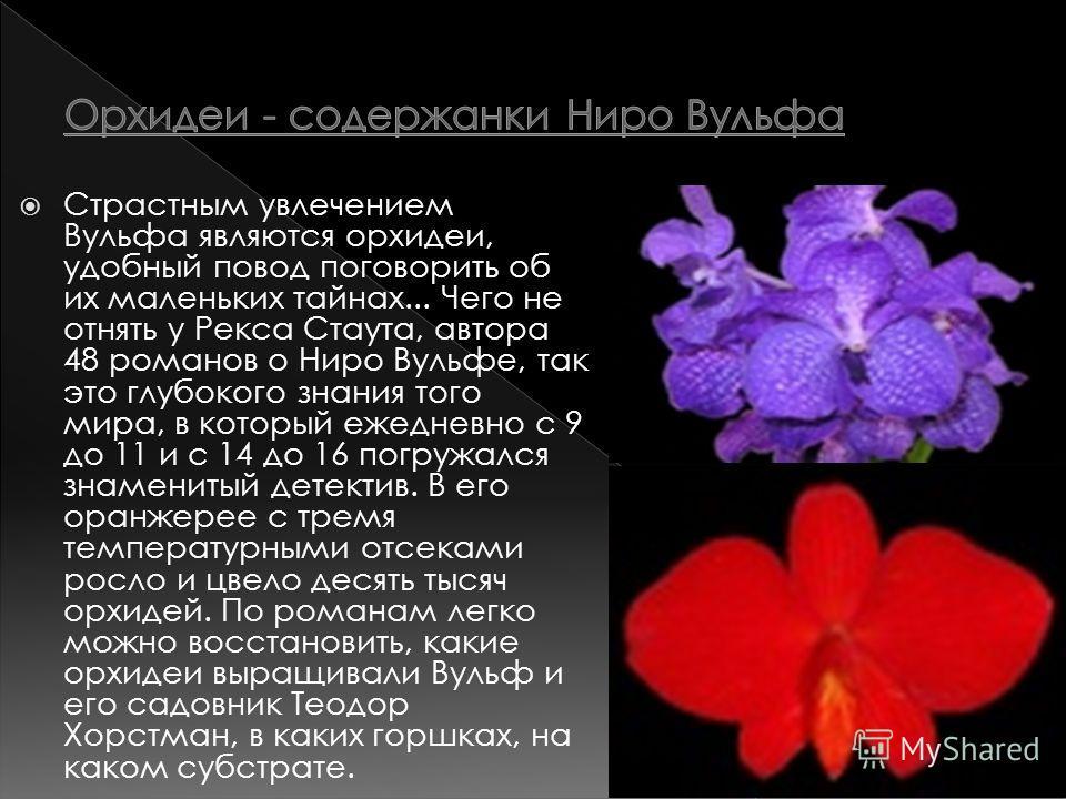 Страстным увлечением Вульфа являются орхидеи, удобный повод поговорить об их маленьких тайнах... Чего не отнять у Рекса Стаута, автора 48 романов о Ниро Вульфе, так это глубокого знания того мира, в который ежедневно с 9 до 11 и с 14 до 16 погружался