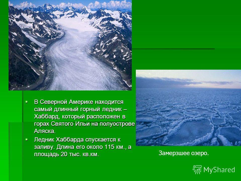 В Северной Америке находится самый длинный горный ледник – Хаббард, который расположен в горах Святого Ильи на полуострове Аляска. В Северной Америке находится самый длинный горный ледник – Хаббард, который расположен в горах Святого Ильи на полуостр