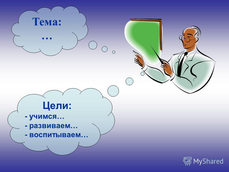 Тема: … Цели: - учимся… - развиваем… - воспитываем…