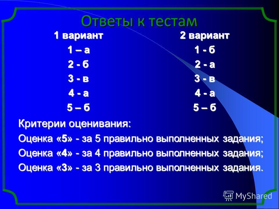 Ответы к тестам 1 вариант 1 – а 2 - б 3 - в 4 - а 5 – б 2 вариант 1 - б 2 - а 3 - в 4 - а 5 – б Критерии оценивания: Оценка «5» - за 5 правильно выполненных задания; Оценка «4» - за 4 правильно выполненных задания; Оценка «3» - за 3 правильно выполне
