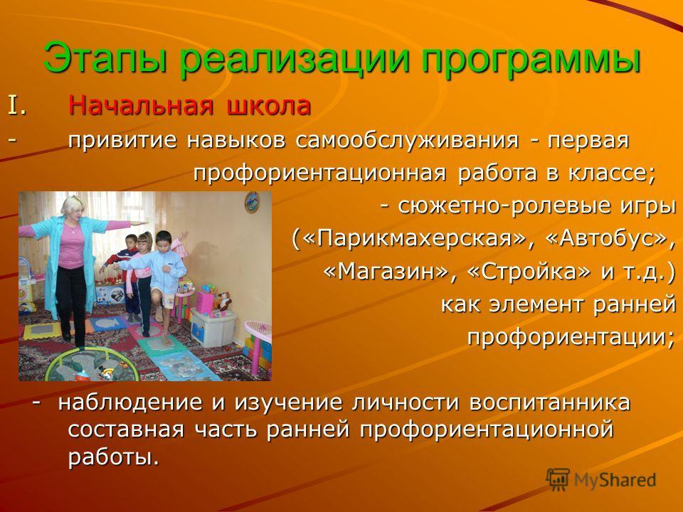 Этапы реализации программы I.Начальная школа -привитие навыков самообслуживания - первая профориентационная работа в классе; профориентационная работа в классе; - сюжетно-ролевые игры - сюжетно-ролевые игры («Парикмахерская», «Автобус», («Парикмахерс
